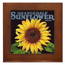 Vintage Fruit Crate Label Art, Sunflower Framed Ti