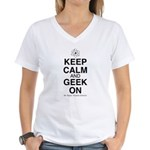 Keep Calm and Geek On Women's V-Neck T-Shirt