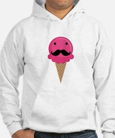 Pink Waffle Cone Mustache Face Jumper Hoody