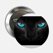 """Black Cat with Ice Blue Eyes 2.25"""" Button"""