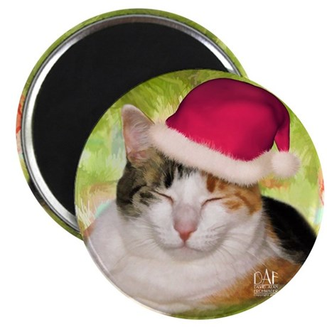 """Christmas Calico 2.25"""" Magnet (100 pack)"""