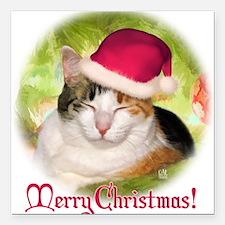 """Christmas Calico Square Car Magnet 3"""" x 3"""""""