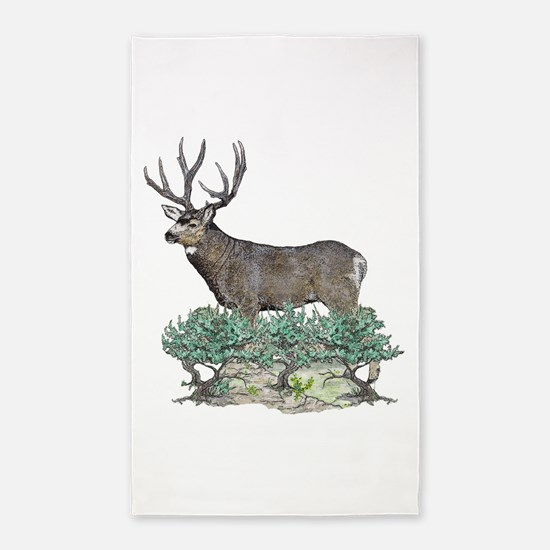 Buck watercolor art 3'x5' Area Rug