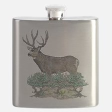 Buck watercolor art Flask