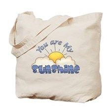 Blue Text You Are My Sunshine Tote Bag