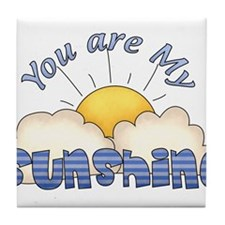 Blue Text You Are My Sunshine Tile Coaster