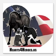"""Hearts4Heroes Square Car Magnet 3"""" x 3"""""""