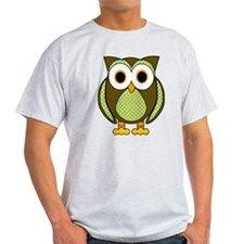 Retro Pattern Owl Green and Brown T-Shirt