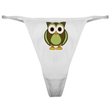 Retro Pattern Owl Green and Brown Classic Thong