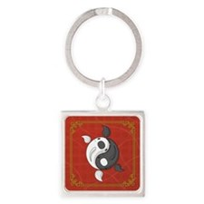 Yin and Yang Square Keychain