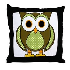 Retro Pattern Owl Green and Brown Throw Pillow