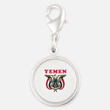 Yemen Coat Of Arms Designs Silver Round Charm