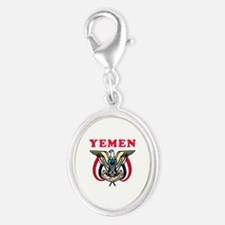 Yemen Coat Of Arms Designs Silver Oval Charm