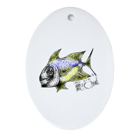 RCM Happy Fish Abstraction 2f Ornament (Oval)