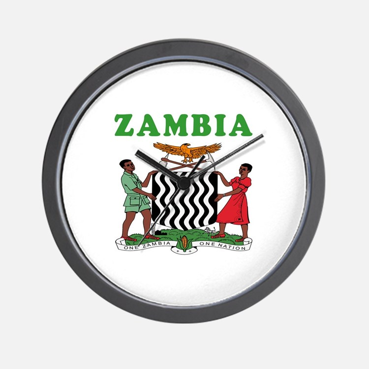 Zambia Coat Of Arms Designs Wall Clock