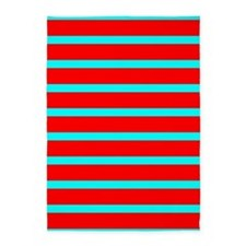 Turquoise Blue Red Stripes for AJ 5'x7'Area Rug