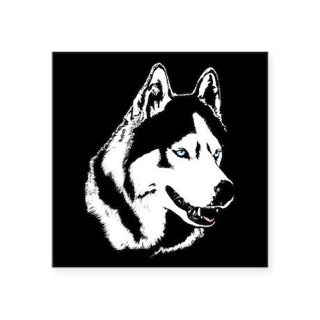 "Siberian Husky Sled Dog Square Sticker 3"" x 3"""