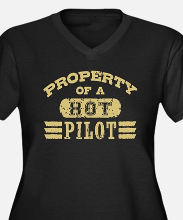 Property of a Hot Pilot Women's Plus Size V-Neck D
