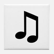 Black Music note Tile Coaster
