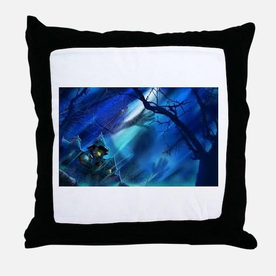 Spooky Halloween Blue Throw Pillow