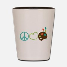 Peace Love Art Shot Glass