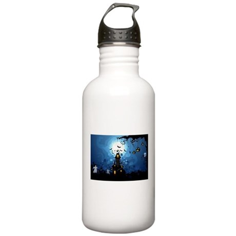 Midnight Halloween Haunted House Water Bottle