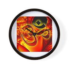 Aum Om on Fire Cosmic Background Wall Clock