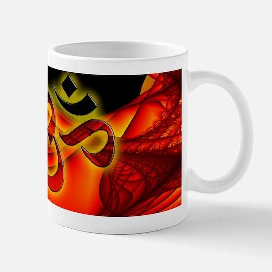 Aum on custom red fractal Mug