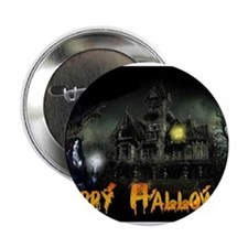 """Happy Halloween Haunted House 2.25"""" Button"""