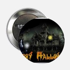 "Happy Halloween Haunted House 2.25"" Button"