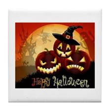 Happy Halloween Jack-O-Lanterns Tile Coaster