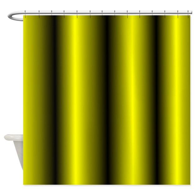 Black And Yellow Stripe Shower Curtain By Leatherwooddesign