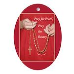 Pray Rosary Oval Ornament