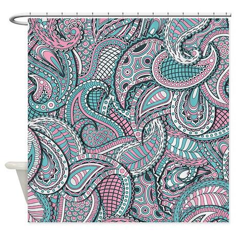Pink Blue Paisley Pattern Shower Curtain By Zandiepantshomedecor