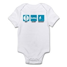 Eat Sleep Hockey Blue Icons Infant Bodysuit