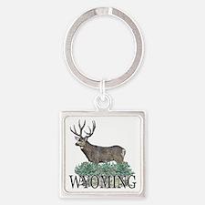 Wyoming buck Square Keychain
