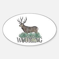 Wyoming buck Sticker (Oval)