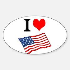 I Love the United States Sticker (Oval)