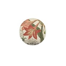 modern vintage winter garden amaryllis Mini Button