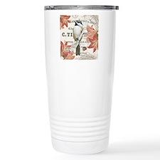modern vintage winter garden chickadee Travel Mug