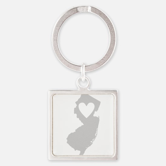 Heart New Jersey Square Keychain