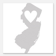 """Heart New Jersey Square Car Magnet 3"""" x 3"""""""