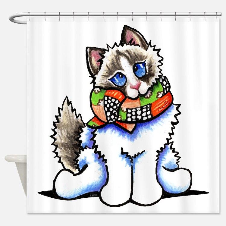 Ragdoll Scarf Shower Curtain