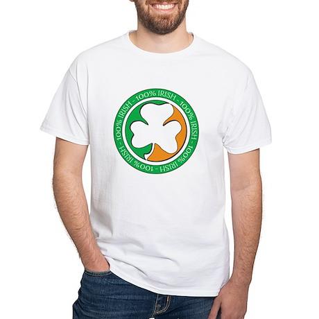 100% IRISH White T-Shirt