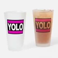 yolo1 pink Drinking Glass