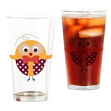 Folk Art Owl Drinking Glass