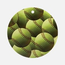 Softball Wallpaper Ornament (Round)