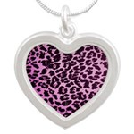 Animal Print Silver Heart Necklace