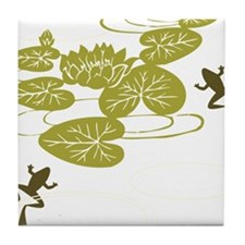 Frogs with Lily pads Tile Coaster