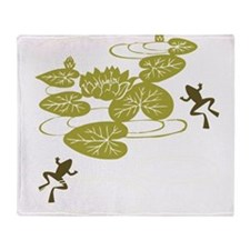 Frogs with Lily pads Throw Blanket